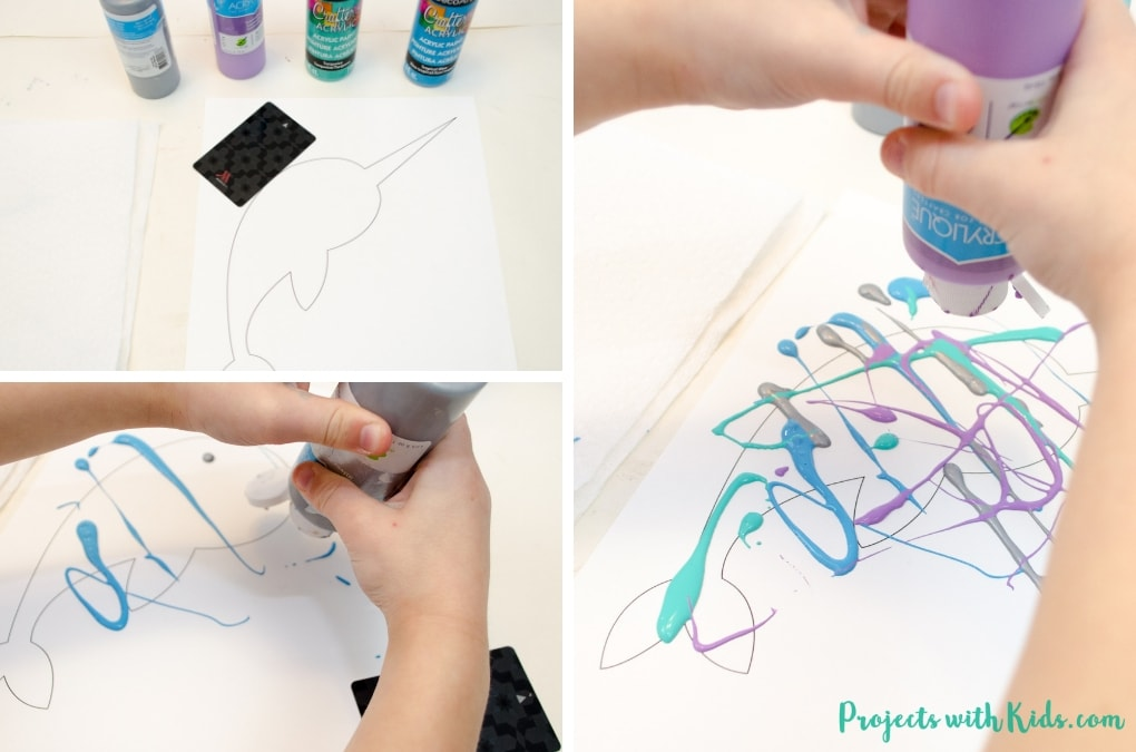 This winter scrape painting activity is a fun and super easy process art project that kids in preschool and beyond will love! Use icy winter colors to make this narwhal craft and edge them in silver glitter for an extra special touch. Free narwhal printable template included.