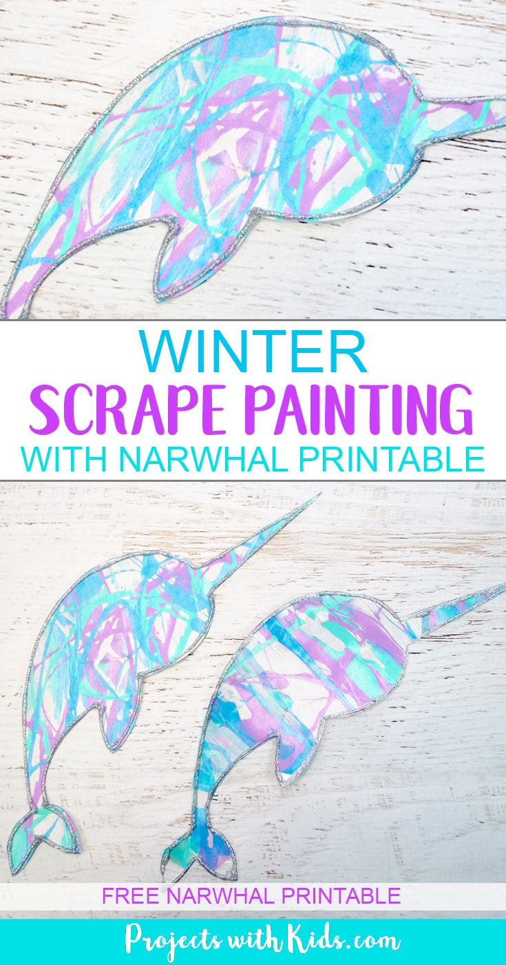 This winter scrape painting activity is a fun and super easy process art project that kids in preschool and beyond will love! Use icy winter colors to make this narwhal craft and edge them in silver glitter for an extra special touch. Free narwhal printable template included. #wintercrafts #processart #kidspainting #projectswithkids