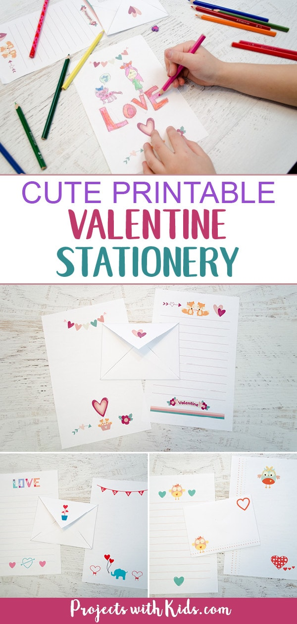 These printable Valentine stationery sets are so cute! Kids will love writing and drawing special Valentine notes for their friends, family and teachers. #valentinesprintables #valentinecrafts #printablestationery #projectswithkids