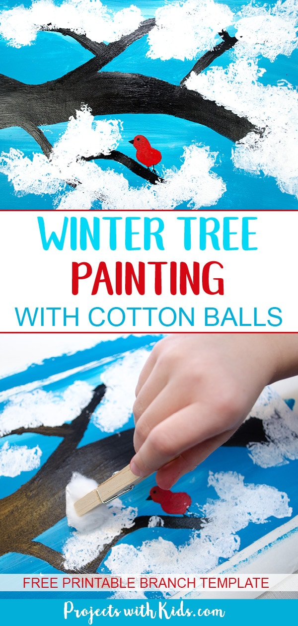 Kids will love creating this cute & easy winter tree painting using cotton balls. Add in a fingerprint red bird for an extra fun winter touch. Free printable branch template included. #wintertree #wintercraftsforkids #artforkids #projectswithkids