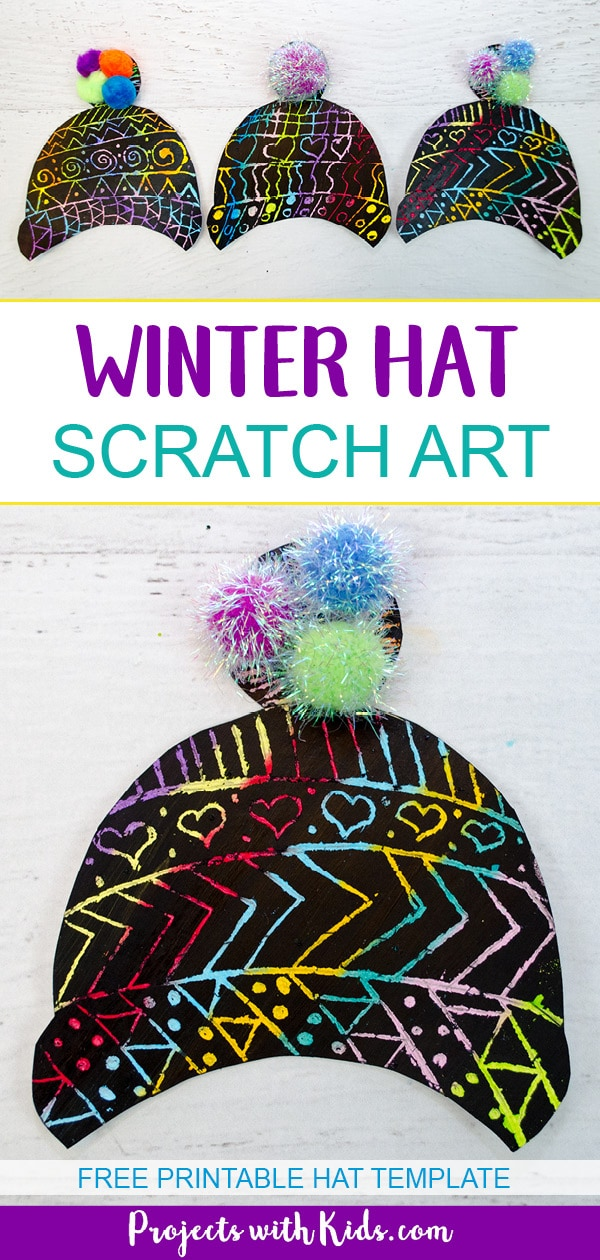 Brighten up your cold winter days with this colorful winter hat craft. Kids will love using scratch art to create their own unique designs. Free template included. #wintercrafts #scratchart #artsandcrafts #projectswithkids