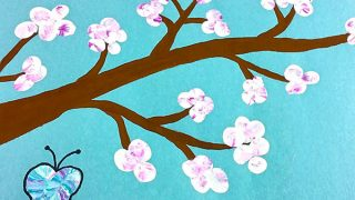 Cherry Blossom Branch Craft for Kids Using Fingerprints