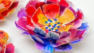 Hyper Colorful Painted Paper Plate Flowers!