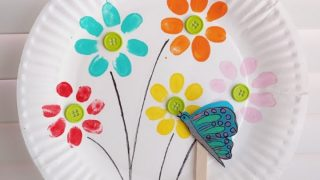 Fingerprint Flowers And Flying Butterfly - Playful Spring Craft For Kids