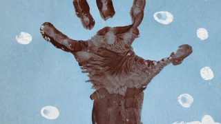 Winter Hand Print Tree with Snowy Fingerprints