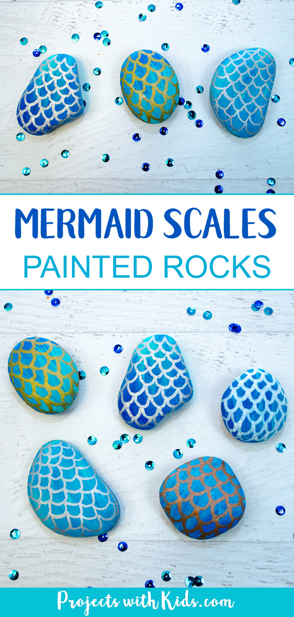 Easy steps for how to draw mermaid scales on painted rocks. A fun rock painting activity for kids that would be perfect for playdates, birthday parties, summer camps or any time! #paintedrocks #mermaidcrafts #projectswithkids #mermaidscales