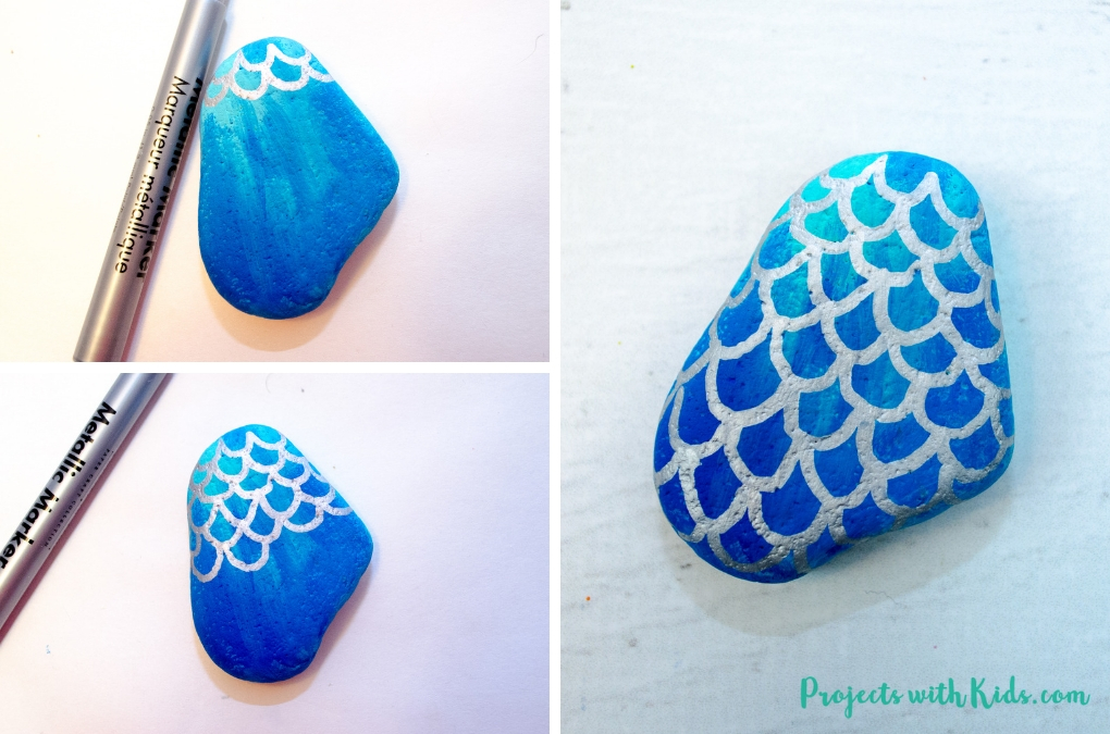 How to Draw Mermaid Scales on Painted Rocks | Projects with Kids