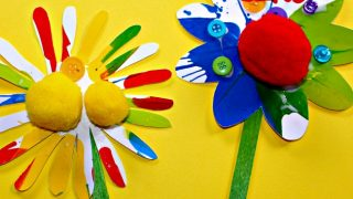 Rainbow Flower Craft for Kids using a fun spin art painting technique