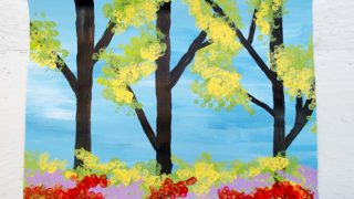 Easy Spring Trees Painting with Bundled Q-Tips