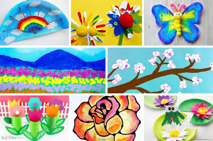 Welcome spring with over 45 gorgeous spring art projects for kids. Ideas for older kids and tweens as well as younger kids and preschoolers. Colorful spring crafts kids of all ages will love! #springcrafts #kidsart #projectswithkids