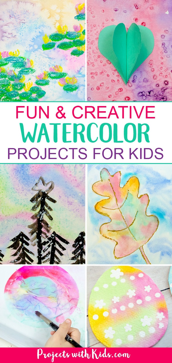 Totally awesome watercolor painting for kids. Watercolor ideas that kids of all ages will love to explore and create. #watercolorpainting #artforkids #projectswithkids