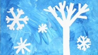 Winter Art: Tape-Resist Snowflake Painting