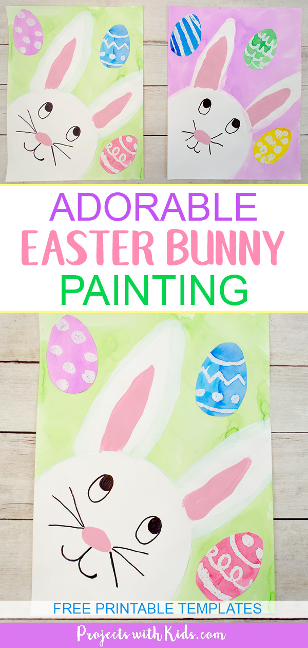 This easter bunny painting is absolutely adorable and so fun for kids to make! Two different bunny printables available to make this Easter craft easy for kids of all ages. #eastercrafts #bunnycrafts #kidsart #projectswithkids