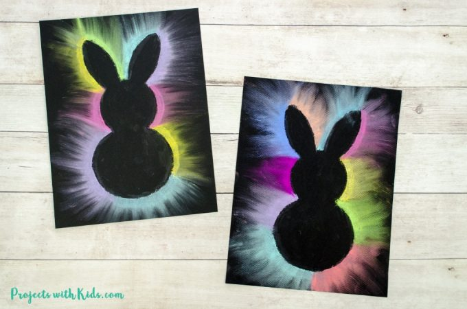 This bunny art project is adorable and so fun for kids to make! Kids will love using this easy chalk pastel technique to create this brightly colored Easter craft. Free bunny template included.