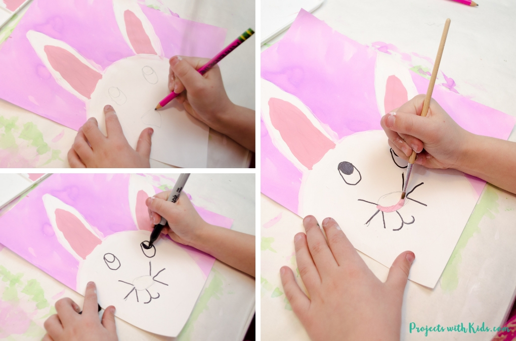 This easter bunny painting is absolutely adorable and so fun for kids to make! Two different bunny printables available to make this Easter craft easy for kids of all ages.