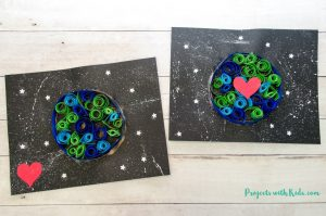 Kids can use simple quilling techniques on black paper to make this Earth Day craft really stand out! No special quilling tools needed.