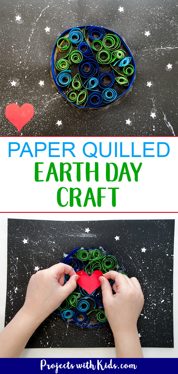Kids can use simple quilling techniques on black paper to make this Earth Day craft really stand out! No special quilling tools needed. #earthdaycrafts #papercrafts #quilling #projectswithkids