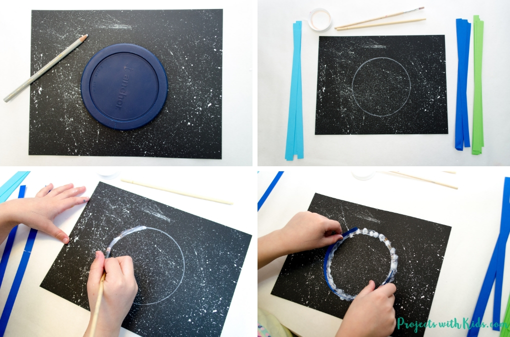 Celebrate Earth day with with this beautful paper quilled Earth Day craft for kids. Using black paper to create a night sky really makes this paper craft stand out! No special quilling tools needed.