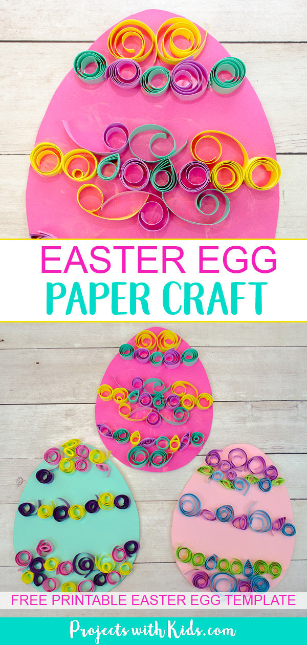 Kids can use easy paper quilling techniques to create this beautiful Easter egg paper craft! A fun easter craft activity that kids will love to create. Free egg template included. #eastercrafts #papercrafts #kidscrafts #projectswithkids