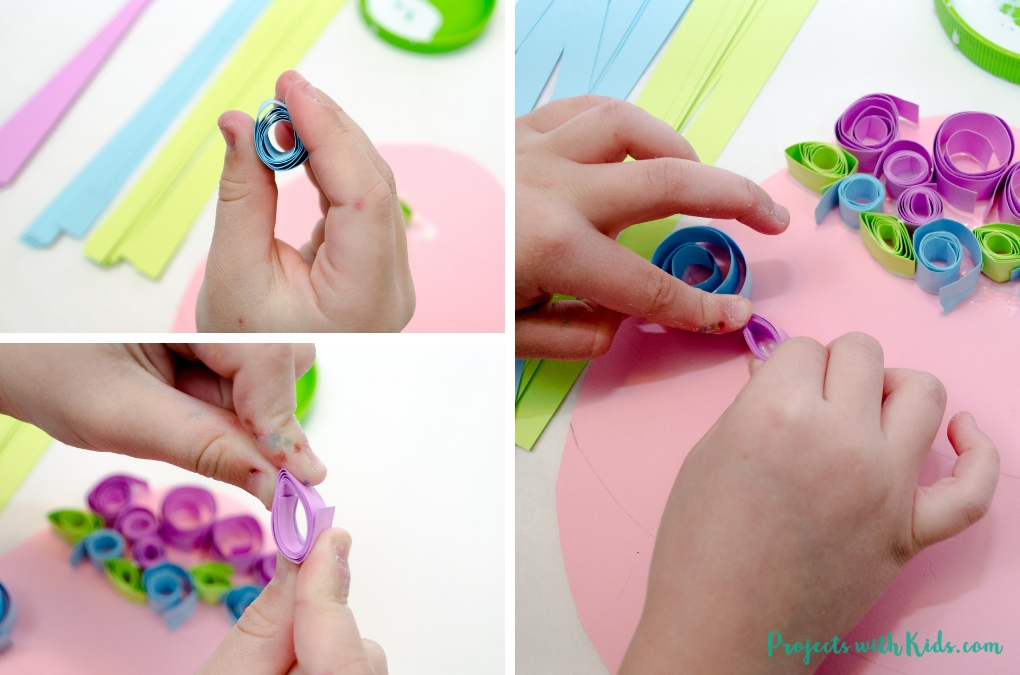 Kids can use easy paper quilling techniques to create this beautiful Easter egg paper craft! A fun easter craft activity that kids will love to create. Free egg template included.