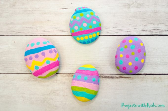 These painted Easter egg rocks are super easy and tons of fun for kids to make! Use them as part of your Easter decor or include them in a non-candy Easter egg hunt!