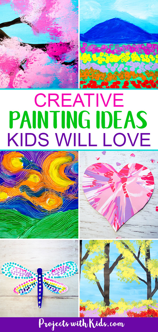Awesome painting ideas for kids of all ages! Click to find fun and unique painting techniques for holidays, seasons or any time that kids will love! #kidsart #kidspainting #projectswithkids