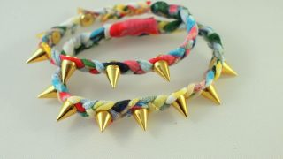 Spiked and Braided T-shirt Bracelet