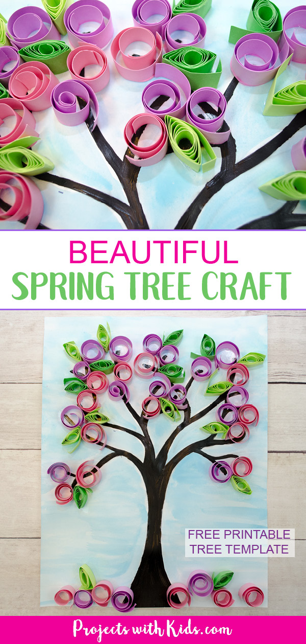 Make this gorgeous blossom spring tree craft with kids! Use easy paper quilling techniques and a free printable tree template. #springcrafts #papercrafts #projectswithkids