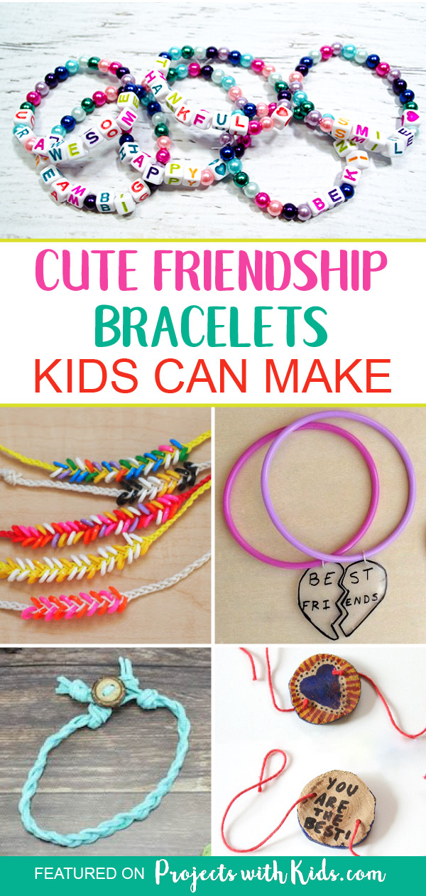 Fun and unique friendship bracelet ideas kids will love to make for their BFF's! Friendship bracelets make a great summer camp, playdate or birthday party craft. #kidscrafts #friendshipbracelets #projectswithkids
