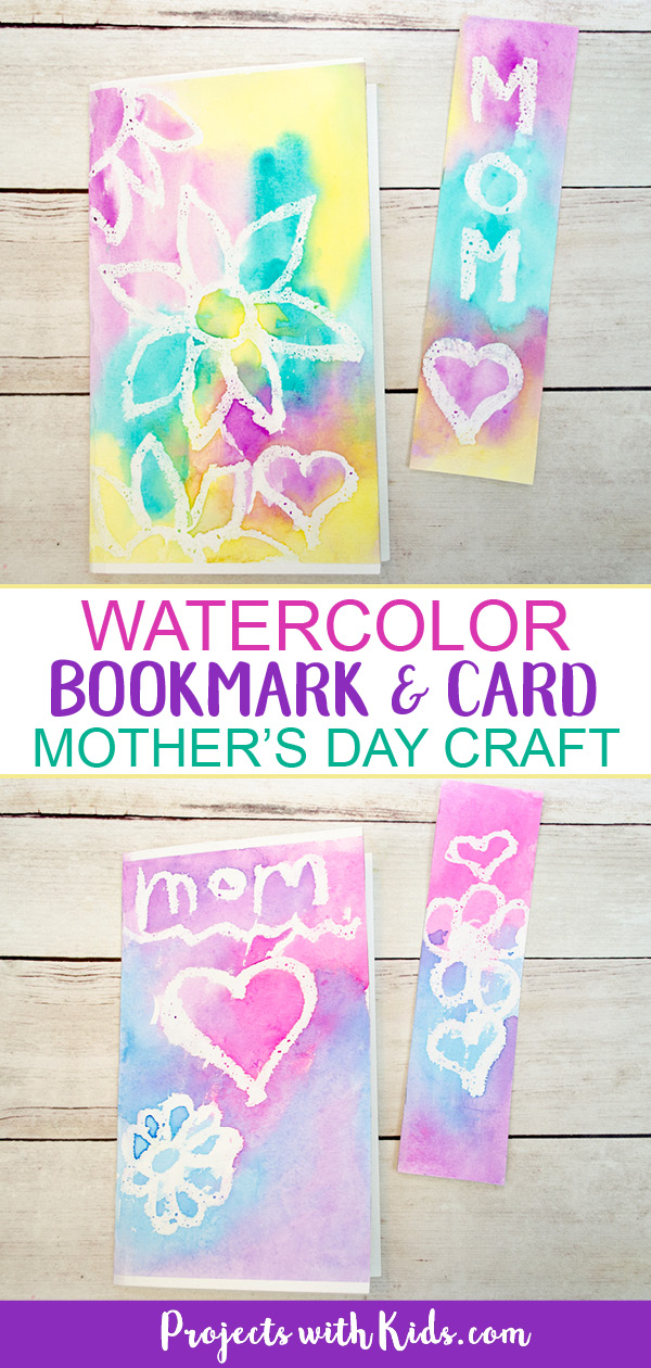 Kids will love to make this lovely Mother's Day bookmark and card set for their mom or grandma as a special handmade gift. A super easy watercolor technique for kids of all ages! #mothersdaycrafts #watercolorpainting #diybookmarks #projectswithkids