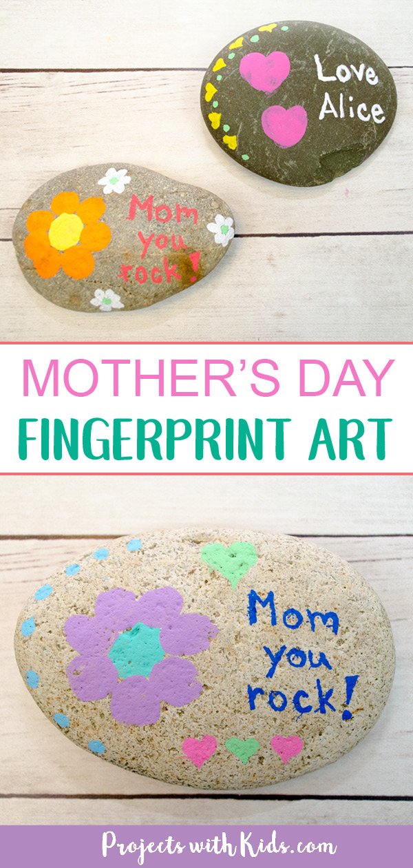 An easy painted rock craft using fingerprint art that makes a wonderful mother's day craft and keepsake. #mothersdaycrafts #rockpainting #fingerprintart #projectswithkids