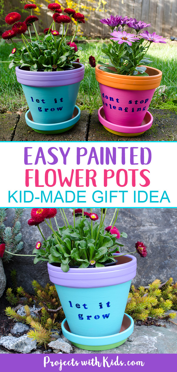 These bright and cheerful DIY painted flower pots are so fun and easy for kids to make! A wonderful kid-made gift idea for Mother's Day, teacher appreciation gift, and a great summer craft project. #mothersdaycrafts #summercrafts #kidscrafts #projectswithkids