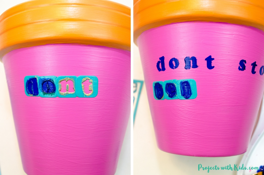 These bright and cheerful plant pots are so fun and easy for kids to make! Adding in a plant pun makes them extra fun!