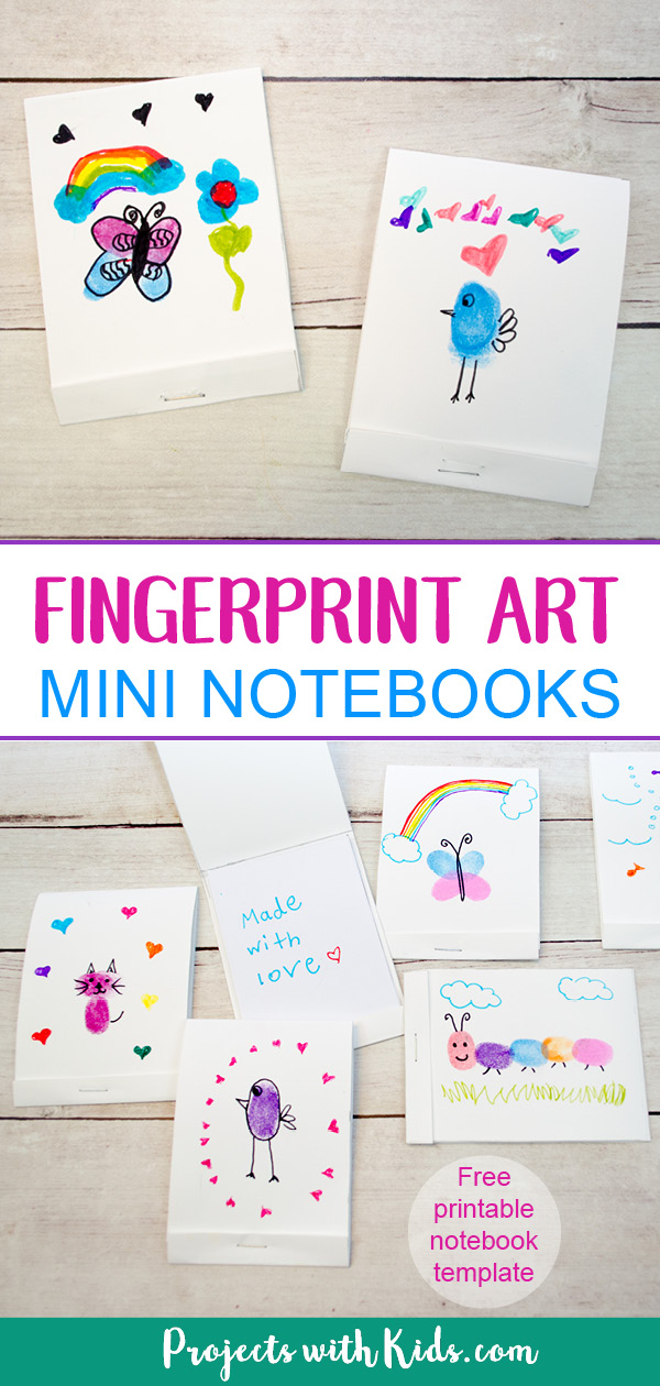 These DIY mini notebooks are absolutely adorable and using fingerprint art makes them the perfect handmade gift idea kids can make for Mother's Day, Father's Day or any occasion! Free notebook template included. #mothersdaycrafts #fathersdaycrafts #fingerprintart #projectswithkids