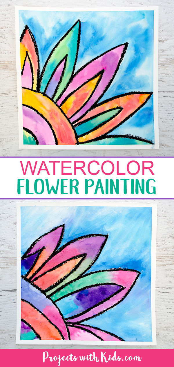 Bright bold colors give this watercolor flower painting the wow factor! Kids will love using easy watercolor techniques to create this gorgeous art project. #watercolorpainting #kidsart #flowercrafts #projectswithkids