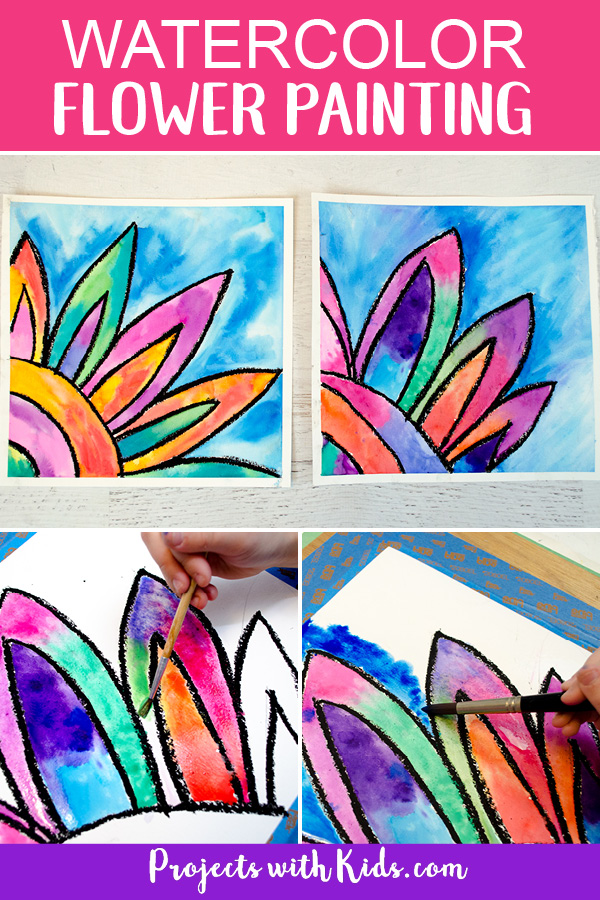 Kids will love creating this gorgeous watercolor flower painting! Use easy watercolor techniques to make this colorful art project that is perfect for spring or summer. #watercolorpainting #kidsart #springcrafts #projectswithkids