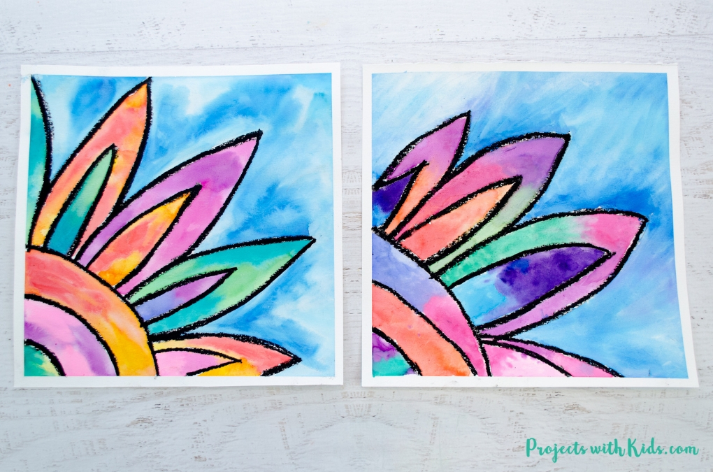 Kids will love creating this gorgeous watercolor flower painting! Use easy watercolor techniques to make this colorful art project that is perfect for spring or summer.