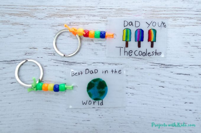 Father's day keychains made with shrinky dinks