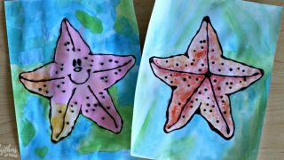 Starfish Black Glue Watercolor Art