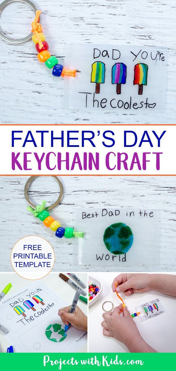Kids will have fun making this super easy Father's Day keychain craft using shrinky dinks! Free printable template included. #projectswithkids #fathersdaycrafts #shrinkydinks #kidscrafts