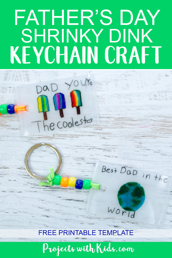 Shrinky dink keychain craft Pinterest image