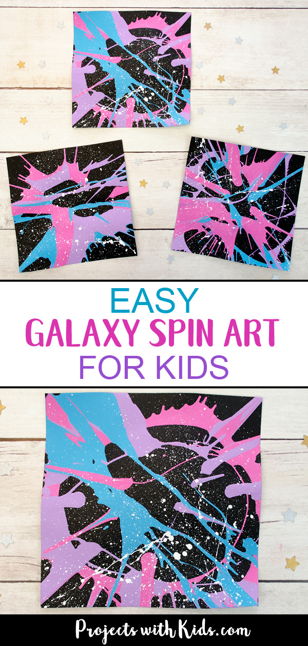 This galaxy spin painting art project is out of this world! Spin art is such a fun process art technique that kids of all ages love. #kidsart #galaxyart #spinart #projectswithkids