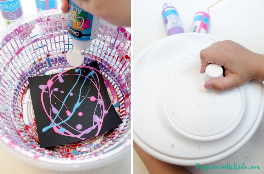 This galaxy spin painting art project is out of this world! Spin art is such a fun process art technique that kids of all ages love.