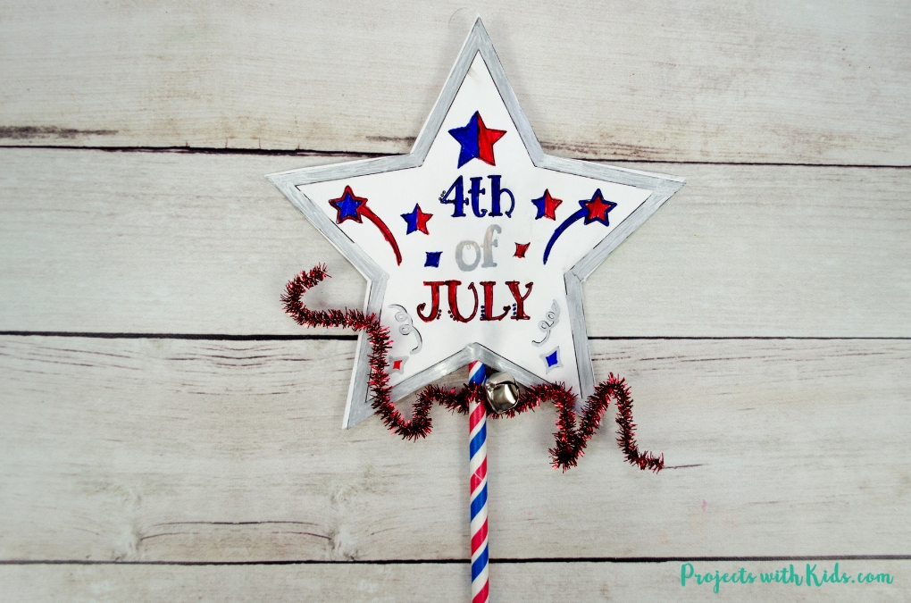 Finished image of the 4th of July printable wand craft.