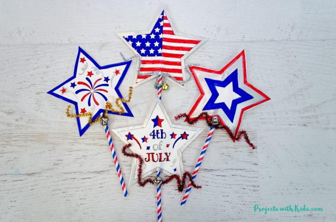4th of July printable wand craft feature image.
