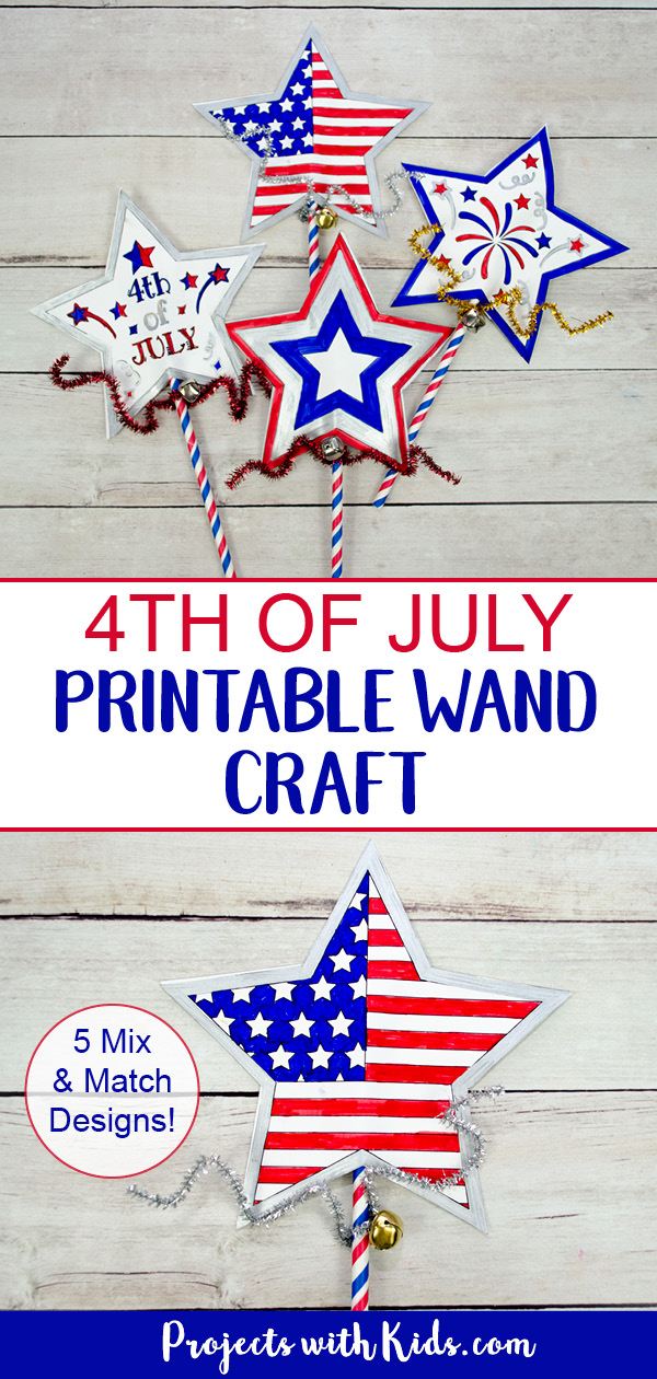 Kids will have fun making this easy 4th of July printable wand craft that can also be used as a noisemaker! 5 mix and match designs to choose from. #projectswithkids #4thofjulycrafts #patrioticcrafts #kidscrafts