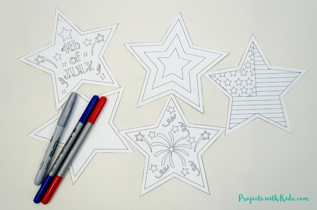 4th of July printables cut out.