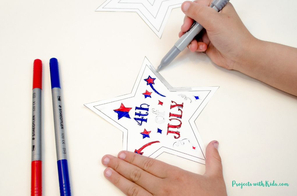 Coloring a 4th of July printable.