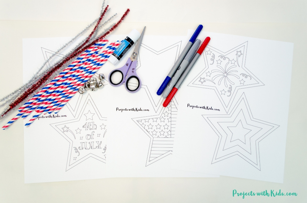 Supplies needed to make 4th of July printable wand craft.