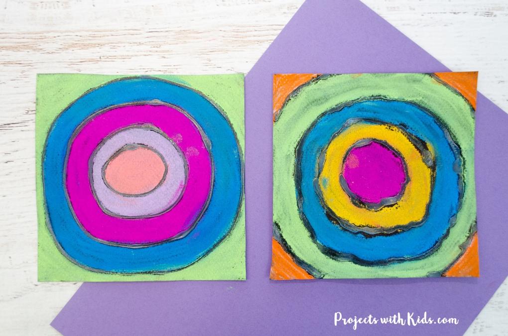 Chalk pastel and glue Kandinsky art for kids.